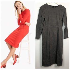 J. Crew gray cotton long sleeve sheath midi dress